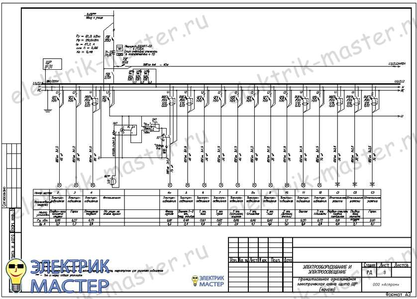 Схема электроснабжения цеха