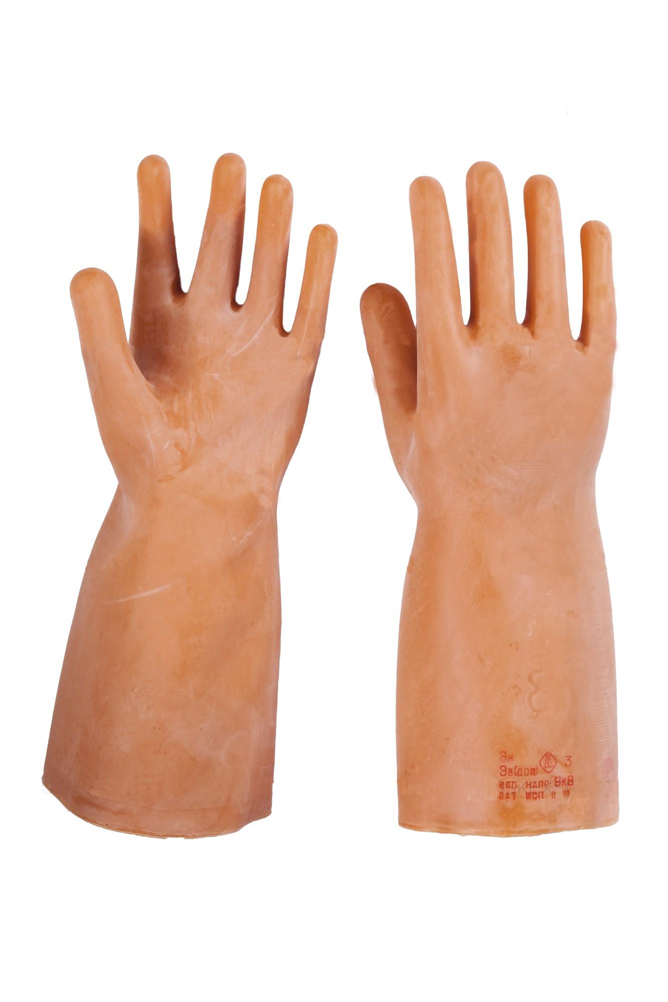 Перчатки диэлектрические латексные бесшовные, с протоколом испытаний