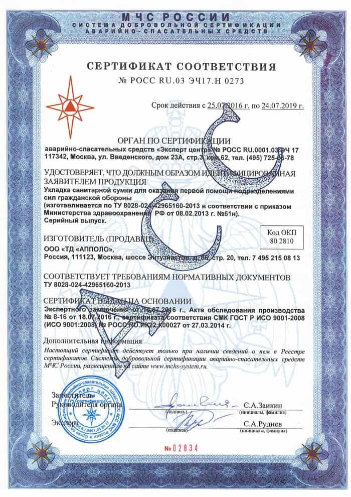 Укладка санитарной сумки по приказу №61н от 08.02.2013г.