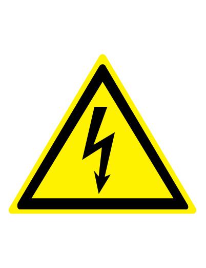 Знак предупреждающий W08 Опасность поражения электрическим током (Пленка 200 х 200)