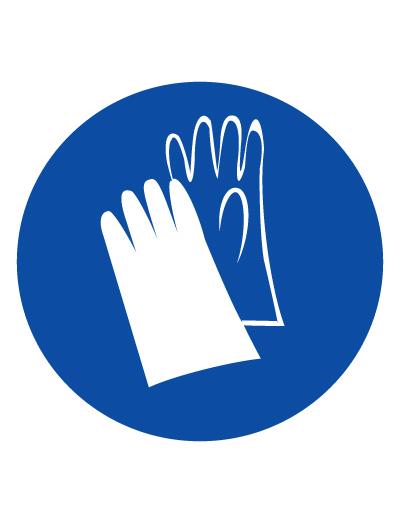 Знак предписывающий M06 Работать в защитных перчатках (Пластик 200 х 200)