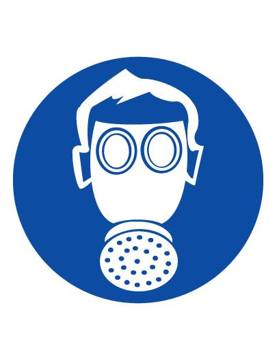 Знак предписывающий M04 Работать в средствах индивидуальной защиты органов дыхания (Пленка 100 х 100)