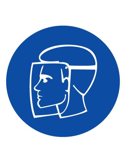 Знак предписывающий M08 Работать в защитном щитке (Пленка 100 х 100)