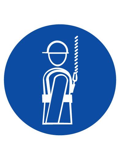 Знак предписывающий M09 Работать в предохранительном (страховочном) поясе (Пленка 100 х 100)