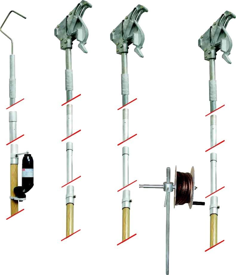 Комплект штанг для заземления воздушных линий с поверхности земли КШЗ-0,4-10, с протоколом испытаний