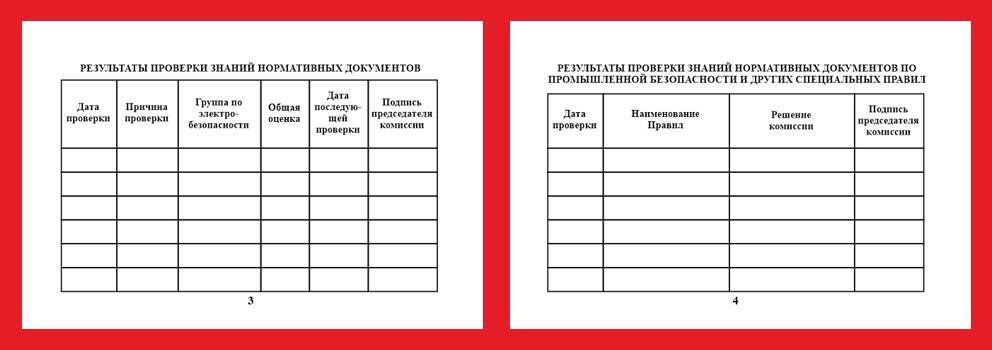 Бланк удостоверения о проверке знаний правил работы в электроустановках (5 страниц)
