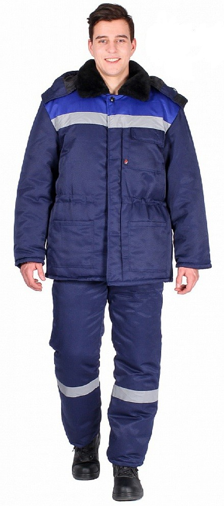 Костюм зимний Труженик-Ультра (тк.Смесовая,210) брюки, т.синий/васильковый