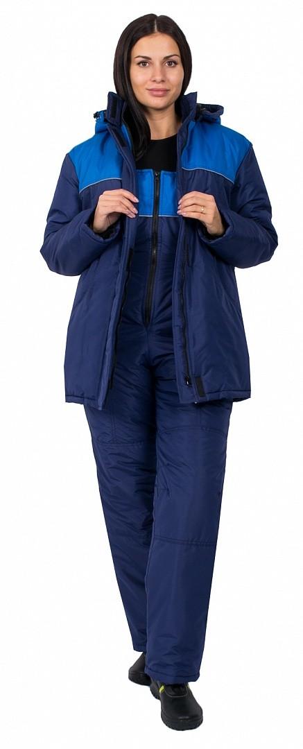 Полукомбинезон зимний женский Снежана (тк.Таслан), т.синий