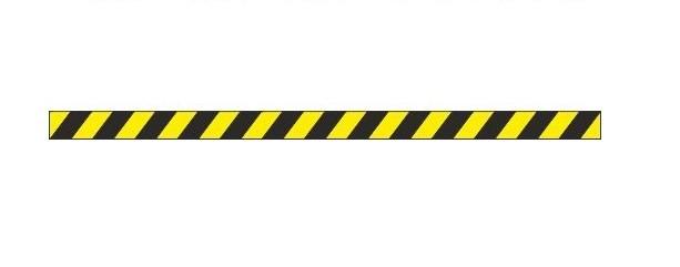 Сигнальная полоса Диагональ (пленка 1000х50 мм, износостойкая, черно-желтая)