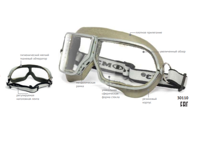 Очки защитные закрытые с прямой вентиляцией ЗП1 PATRIOT 30110