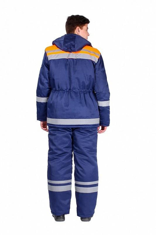 Костюм зимний Горизонт-Люкс (тк.Смесовая,210) брюки, т.синий/оранжевый