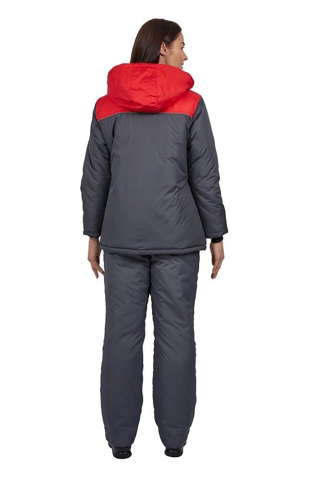 Куртка зимняя женская Снежана (тк.Дюспо), т.серый/красный