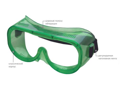 Очки защитные закрытые с непрямой вентиляцией ЗН4 ЭТАЛОН (РС) 20411