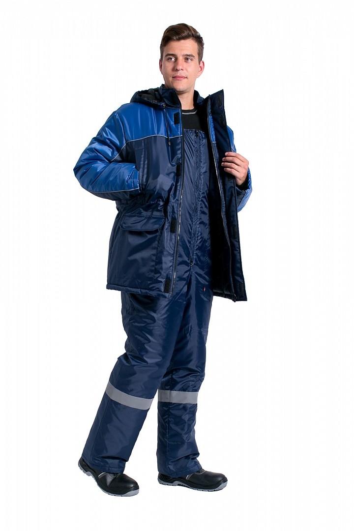 Куртка зимняя для инженера NEW (тк.Оксфорд), т.синий/васильковый