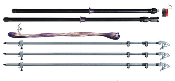 Заземление переносное для воздушных линий КШЗ 6-10 со штангами для установки с земли сеч. 25 мм2 (Электроприбор)