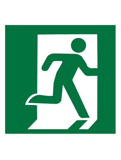 Знак эвакуационный E01-02 Выход здесь (Правосторонний) (Пленка 200 х 200)
