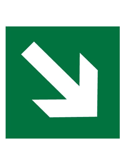 Знак эвакуационный E02-02 Направляющая стрелка под углом 45° (Пленка 200 х 200)