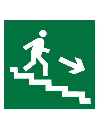 Знак эвакуационный E13 Направление к эвакуационному выходу по лестнице вниз (правосторонний) (Пленка 200 х 200)