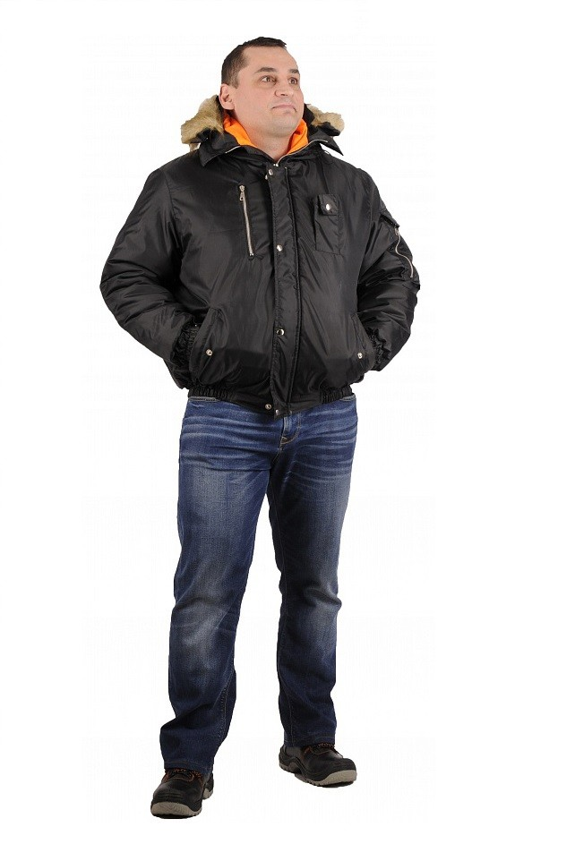 Куртка зимняя Аляска укороченная (тк.Оксфорд) ЭТАЛОН, черный