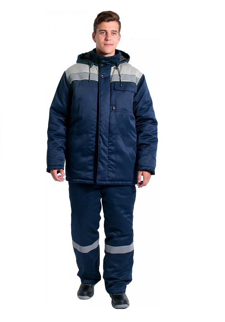 Куртка зимняя Эксперт-Люкс NEW (тк.Смесовая,210), т.синий/серый