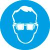 Знак M01 Работать в защитных очках (пленка 200х200 мм)