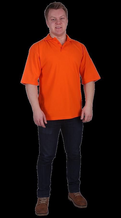 Рубашка-поло с манжетами оранжевая