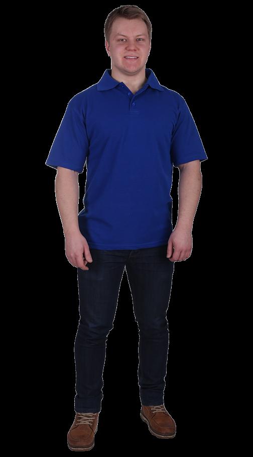 Рубашка-поло с манжетами васильковая