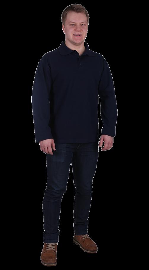 Рубашка-поло с длинным рукавом тем.синяя