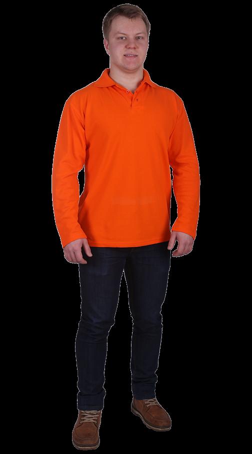Рубашка-поло с длинным рукавом оранжевая