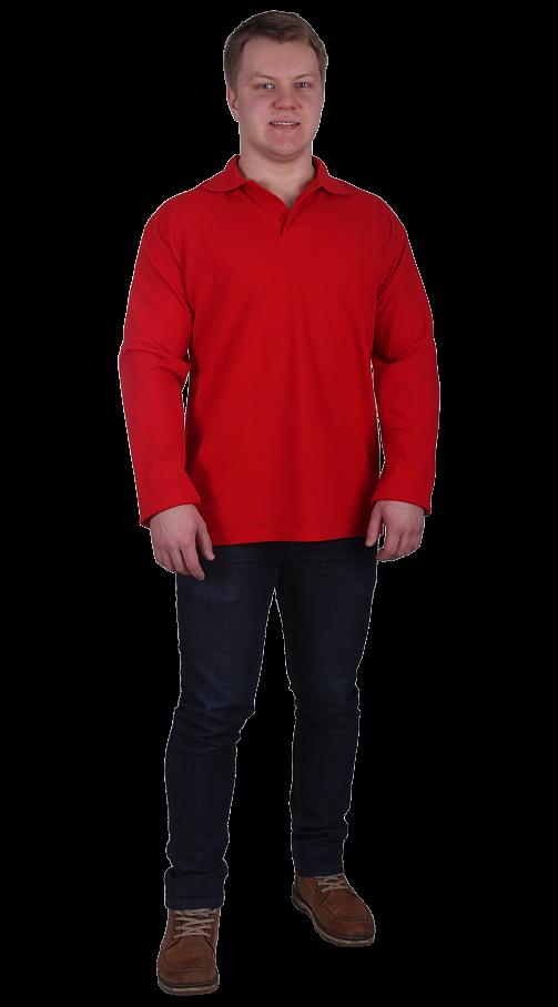 Рубашка-поло с длинным рукавом красная
