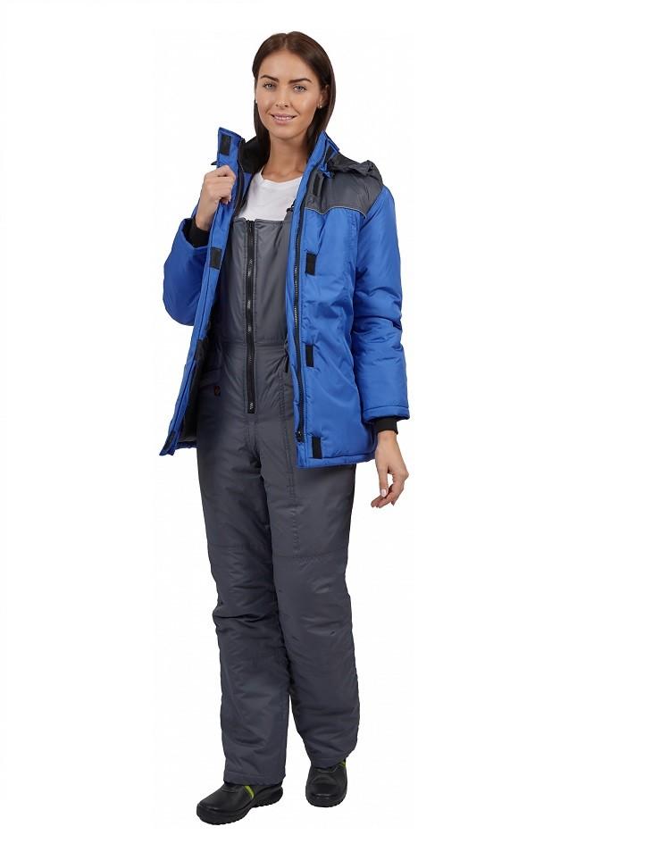 Куртка зимняя женская Снежана (тк.Дюспо), васильковый/т.серый