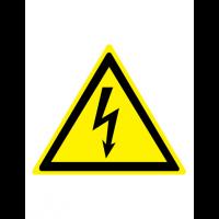 Знак предупреждающий W08 Опасность поражения электрическим током (Пленка 100 х 100)