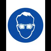 Знак предписывающий M01 Работать в защитных очках (Пленка 200 х 200)