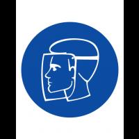 Знак предписывающий M08 Работать в защитном щитке (Пленка 200 х 200)
