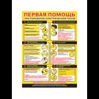 """Плакат по первой помощи """"Первая помощь при поражении электрическим током"""""""