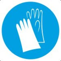 Знак M06 Работать в защитных перчатках (пленка 200х200 мм)