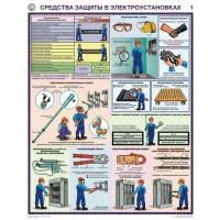 Плакаты Средства защиты в электроустановках (3 листа, формат А2+, 465х610 мм, ламинация)