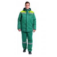 Куртка зимняя Эксперт-Люкс NEW (тк.Смесовая,210), зеленый/лимонный
