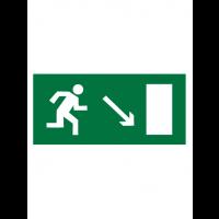Знак эвакуационный E07 Направление к эвакуационному выходу направо вниз (Пленка 150 х 300)
