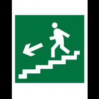 Знак эвакуационный E14 Направление к эвакуационному выходу по лестнице вниз (левосторонний) (Пленка 200 х 200)