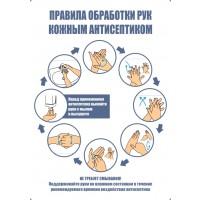 Плакат Правила обработки рук кожным антисептиком (пленка 594х420 мм)