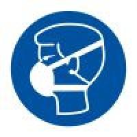 Знак ИМО Работать в защитной маске (пленка 200х200 мм)