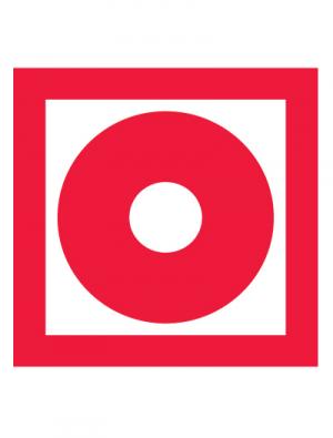 Знак пожарной безопасности F10 Кнопка включения установок (систем) пожарной автоматики (Пленка 100 х 100)