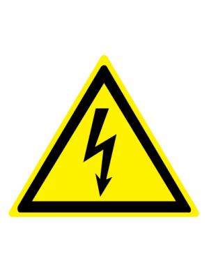 Знак предупреждающий W08 Опасность поражения электрическим током (Пленка 150 х 150)