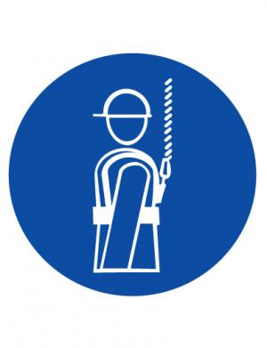 Знак предписывающий M09 Работать в предохранительном (страховочном) поясе (Пластик 200 х 200)