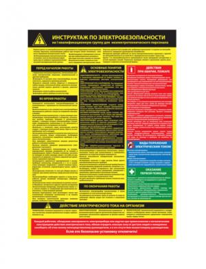 Плакат по электробезопасности Инструктаж по электробезопасности на I-ю квалификационную группу для неэлектротехнического персонала