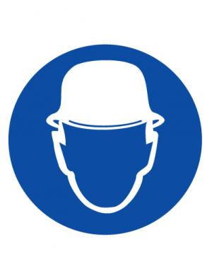 Знак предписывающий M02 Работать в защитной каске (шлеме) (Пленка 100 х 100)