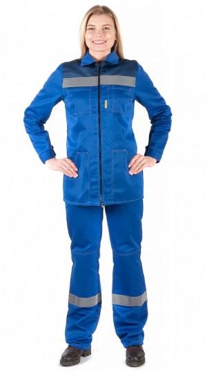 Костюм женский Чикаго с брюками (василек/т.синий) PENTALAB