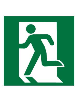 Знак эвакуационный E01-01 Выход здесь (Левосторонний) (Пленка 200 х 200)