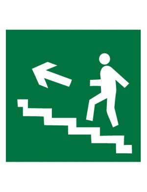 Знак эвакуационный E15 Направление к эвакуационному выходу по лестнице вверх (правосторонний) (Пленка 200 х 200)